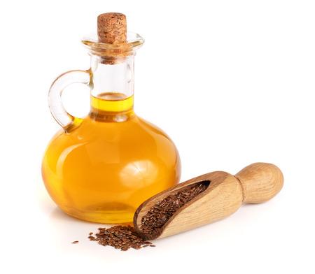 Leinöl mit Leinsamen isoliert auf weißem Hintergrund Standard-Bild - 87811638