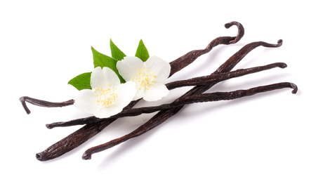 Vanilla sticks with flower and leaf isolated on white background Stock Photo