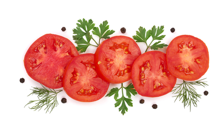 peppercorn: tomato slice with parsley leaves, dill and peppercorns isolated on white background. Top view