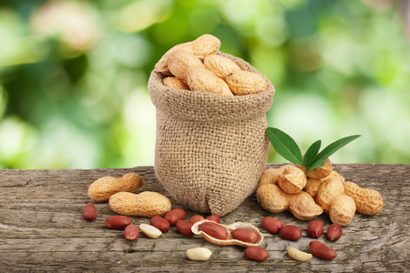 peanuts with leaf in bag on old wooden table with a blurry garden background Stock Photo