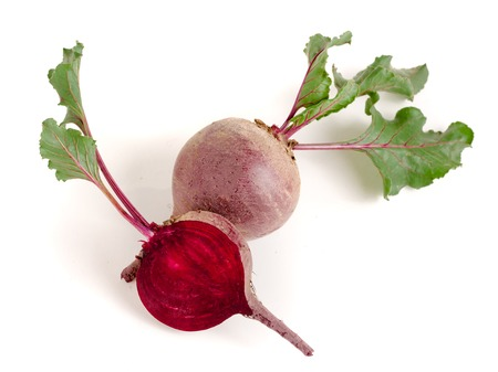 beetroot and half with leaf isolated on white background Banco de Imagens