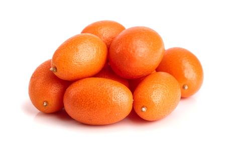 Cumquat or kumquat isolated on white background close up. Stock Photo