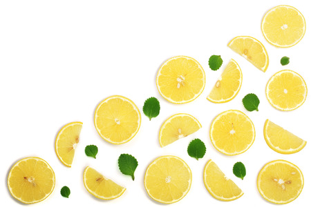 Slices lemon with mint leaves isolated on white background with copy space for your text. Flat lay, top view Stock Photo