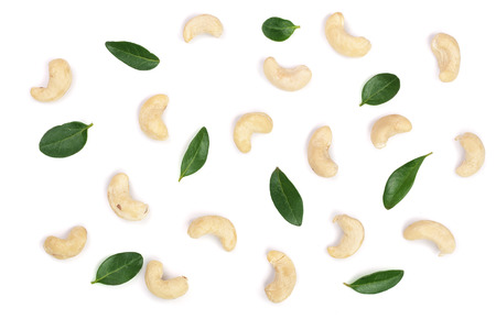 cashew nuts with leaf isolated on white background. top view. Flat lay pattern