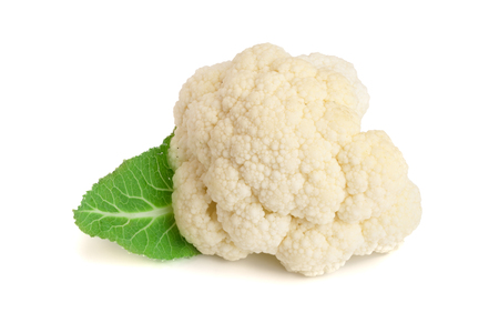 Piece of cauliflower with leaf isolated on white background macro. With clipping path.