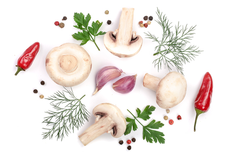 mushrooms with parsley leaf garlic and peppercorns isolated on white background. top view