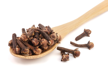 dry spice cloves isolated on white background. Stok Fotoğraf