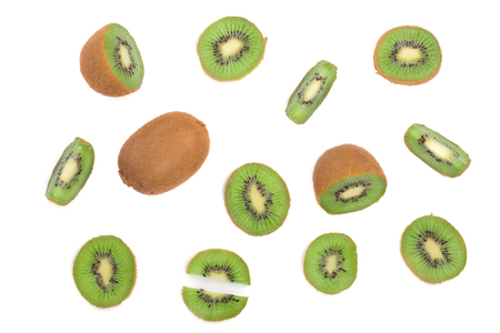 cantle: sliced kiwi fruit isolated on white background. Flat lay pattern. Top view.