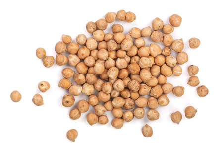 Dry raw organic chickpeas isolated on white background. Top view Standard-Bild