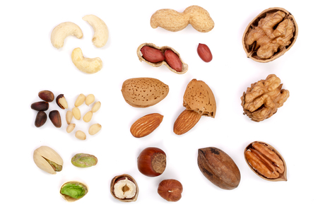 mix of different nuts isolated on white background, Flat lay pattern, Top view Stok Fotoğraf - 90543255