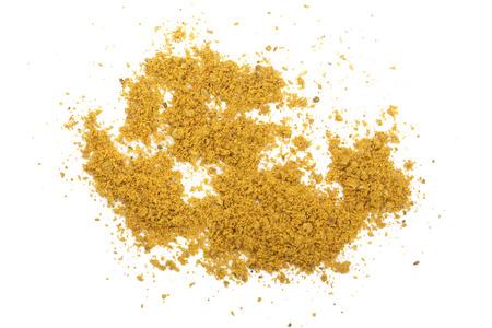 curry w proszku na białym tle. Widok z góry Zdjęcie Seryjne