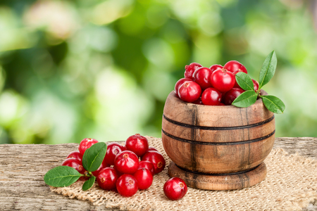Cranberry with leaf in wooden bowl on old wooden table with blurry garden background