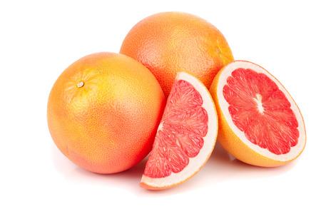 grapefruit and half isolated on white background