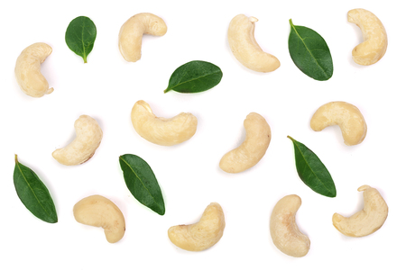 cashew nuts with leaf isolated on white background. top view. Flat lay pattern. 版權商用圖片