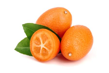 Cumquat or kumquat with leaf isolated on white background close up. Stock Photo
