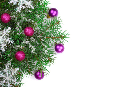 Christmas background with balls and decorations isolated on white with copy space for your text. Top view.