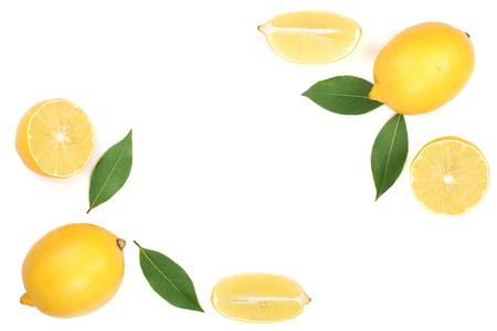 lemon with leaves and slices isolated on white background with copy space for your text. Flat lay, top view.