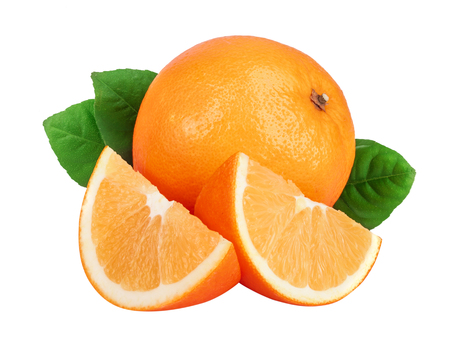 Orange with slice and leaf isolated on the white background