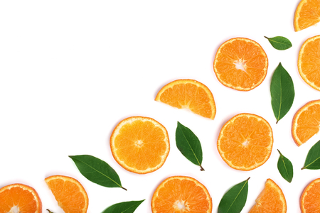 slices of tangerine with leaves isolated on white background with copy space for your text. Flat lay, top view.
