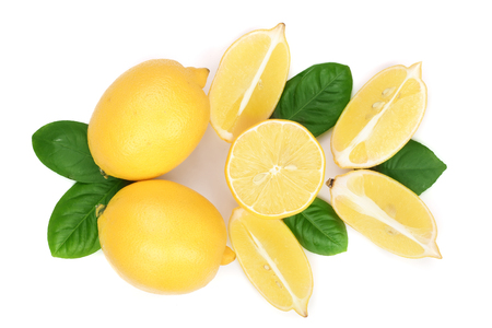 lemon and slices with leaf isolated on white background. Flat lay, top view Imagens