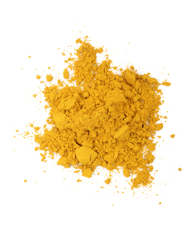 Turmeric or Curcuma powder pile isolated on white background, top view. Foto de archivo