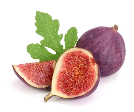 fig fruits with leaves isolated on white background.
