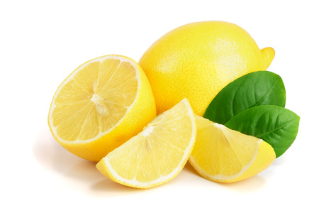 lemon and slice with leaf isolated on white background. Stok Fotoğraf