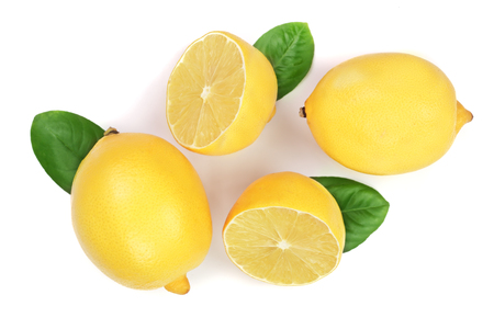 lemon and slices with leaf isolated on white background. Flat lay, top view. Imagens