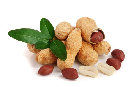 peanuts with leaf isolated on white background. Stock Photo