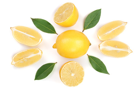 lemon and slices with leaf isolated on white background. Flat lay, top view Stock Photo