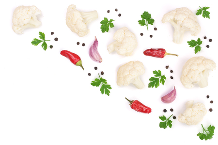Piece of cauliflower with parsley garlic and peppercorns isolated on white background with copy space for your text