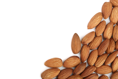 almonds isolated on white background with copy space for your text. Top view. Flat lay. Standard-Bild