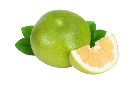 Citrus Sweetie or Pomelit, oroblanco with slices and leaf isolated on white background close-up