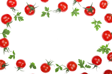 Cherry small tomatoes with parsley leaves isolated on white background with copy space for your text. Top view. Flat lay.