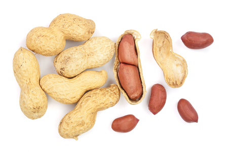 peanuts isolated on white background top view. Flat lay Reklamní fotografie