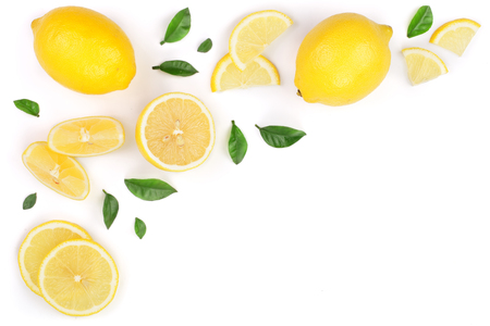 lemon and slices with leaf isolated on white background with copy space for your text. Flat lay, top view Stock Photo