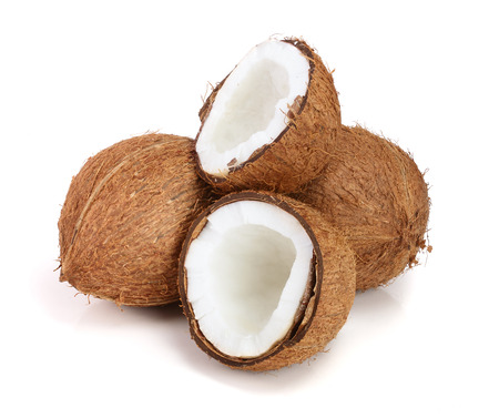 whole coconut and half isolated on white background