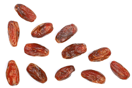 dry dates isolated on white background with copy space for your text. Top view. Flat lay pattern Stock Photo