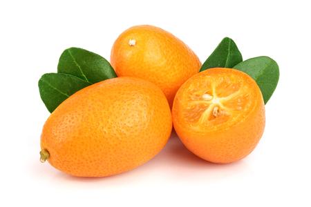 Cumquat or kumquat with leaf isolated on white background close up Stock Photo