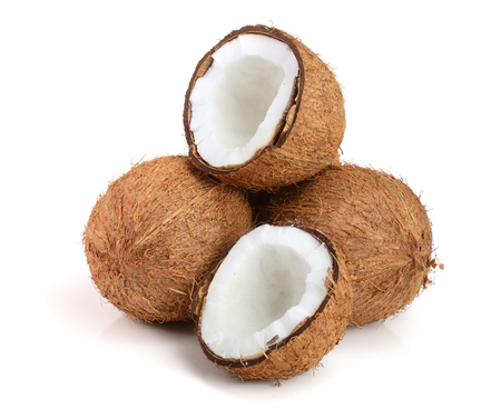 whole coconut and half isolated on white background. Stock Photo