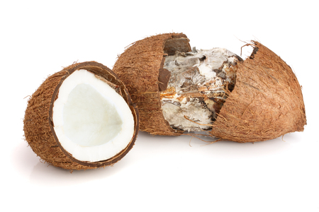 Coconut spoiled with mold isolated on white background.