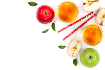 apple with juice and leaves isolated on white background with copy space for your text. top view. Flat lay pattern Stockfoto