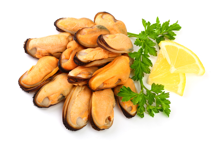 mussel with parsley leaf and lemon isolated on white background