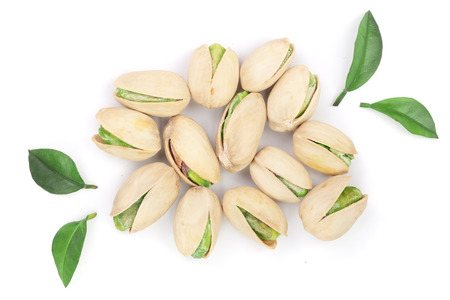 Pistachios isolated on white background, top view. Flat lay. Imagens - 94808408