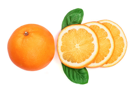 Orange with slice and leaf isolated on the white background. Flat lay pattern. Top view.