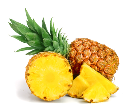 pineapple with slices isolated on white background.