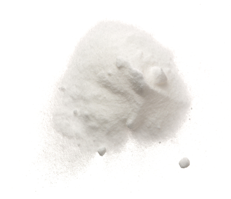 Baking soda, Sodium bicarbonate isolated on white background, NaHCO3. Top view. Flat lay.