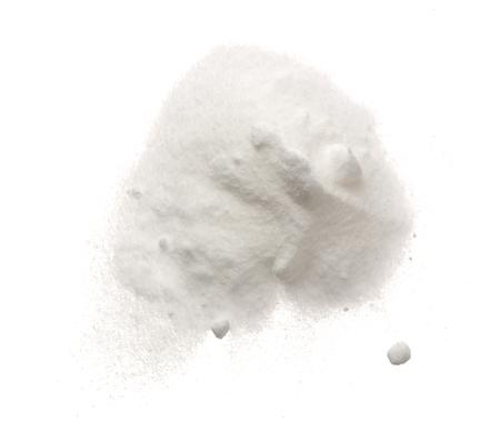 Baking soda, Sodium bicarbonate isolated on white background, NaHCO3. Top view. Flat lay.