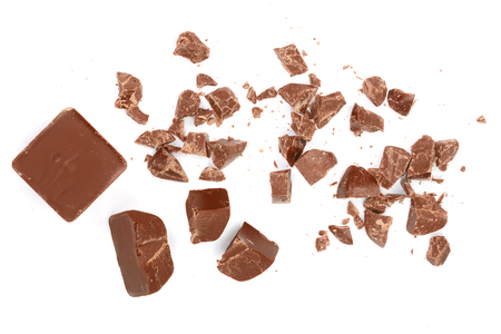 Chocolate pieces isolated on white. Top view. Flat lay. Stockfoto
