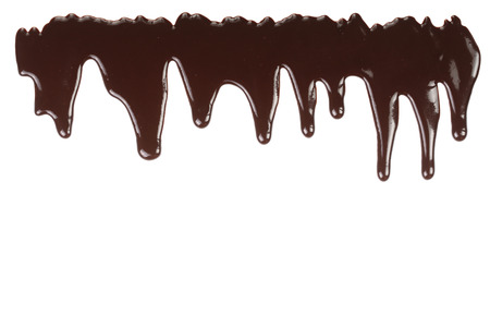 Melted chocolate dripping isolated on white background. Banco de Imagens